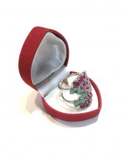 خاتم فضة بابيون مع أحجار كريمة