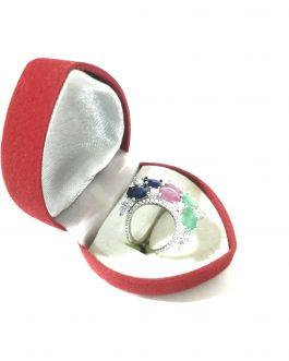 خاتم فضة هلال مع أحجار كريمة