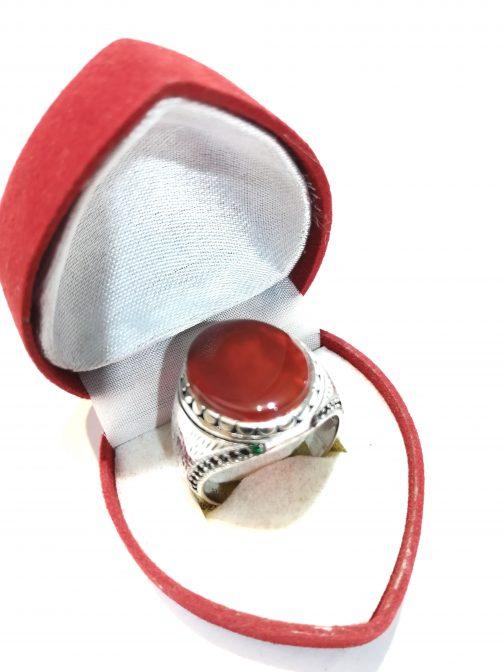 خاتم فضة عقيق يمني مع أحجار كريمة