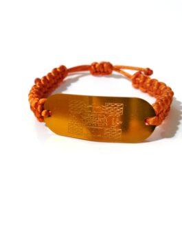 سوار خريدة ذهبي مع حبل برتقالي